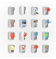 grey folders collection with different content on vector image vector image