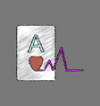flat shading style icon ace of hearts silhouette vector image vector image