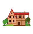 old two storey house ancient architecture vector image
