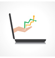 hand holding up and down arrows comes from laptop vector image
