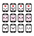 Japanese cute Kawaii character - phone icons vector image