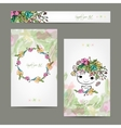 Postcard floral design with cute girl sketch vector image