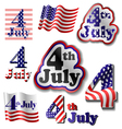 4 July sticker set vector image
