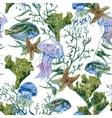 Summer Vintage Watercolor Sea Life Seamless vector image