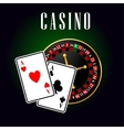 Casino symbol with ace cards over roulette vector image vector image