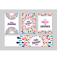 Hello summer colorful art greeting card and label vector image