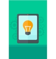 Background of digital tablet with lightbulb vector image