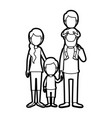 Caricature thick contour faceless family parents vector image