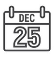 christmas calendar line icon new year vector image