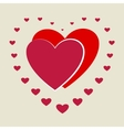 Heart small around two big heart vector image