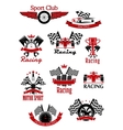 Motorsports racing and rally icons vector image