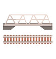 railway bridge and railroad rail section vector image