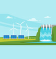 wind mill and solar panels vector image