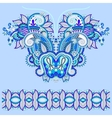Neckline blue ornate floral paisley embroidery vector image
