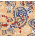 Cartoon pattern with birds beads and Paisley vector image vector image