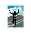 marathon runner finish line vector image vector image