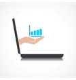 hand holding business graph comes from laptop scre vector image