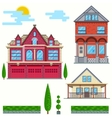 flat  Set of urban and village vector image vector image