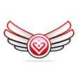 Logo heart abstract design business wings vector image