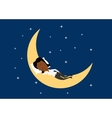 Weary businesswoman sleeping on the moon vector image