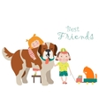 Happy little girl and boy hugging dog vector image