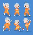 kung fu characters set vector image