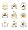 royal crowns emblems set heraldic design vector image