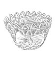 sketch of wicker basket with ribbon vector image