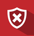 unprotected shield icon with shade on a red vector image