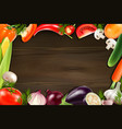 vegetables wooden background vector image