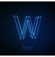Neon 3D letter W vector image