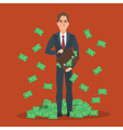 Successful businessman standing near a pile of vector image