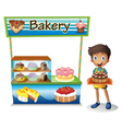 A boy selling cakes vector image vector image