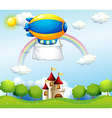 An airship with an empty banner above a castle vector image vector image