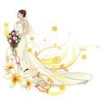 bride beautiful wedding dress floral background vector image vector image