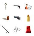 crime scene icons set cartoon style vector image