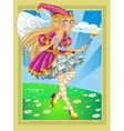 Fairy in Pink dress on fairytale landscape vector image vector image