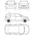 Renault Captur Car Blueprint vector image