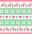 Winter Christmas red and green seamless pixelated vector image