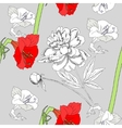 Seamless pattern with amaryllis and flowers-01 vector image vector image