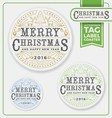 Merry Christmas Tags Label Coaster Letterpress vector image