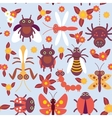 Funny insects Spider butterfly caterpillar vector image