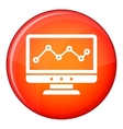 Graph in computer screen icon flat style vector image
