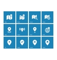 Map icons on blue background GPS and Navigation vector image
