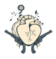 Vintage style emblem with human heart and two vector image