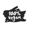 100 percent vegan label on a black scribble vector image