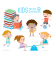happy cartoon kids playing children egucation vector image
