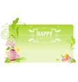 Happy Easter banner border Spring landscape - egg vector image