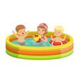 happy kids having fun in inflatable swimming pool vector image