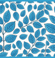 seamless pattern of birch honeysuckle blue leaves vector image vector image